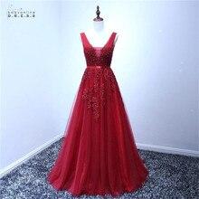 24 Hours Shipping Burgundy Lace Prom Dresses Long Sexy Backless Tulle A-line Gown Appliques Cheap Vestido de Festa Longo