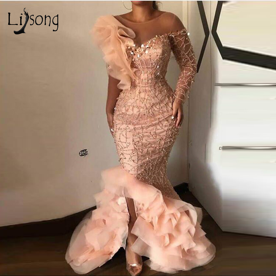 Elegant Peach Sparkle Beaded Mermaid Evening Dresses Ruffles One Shoulder Sequined Long Evening Gowns Sexy Party Dresses