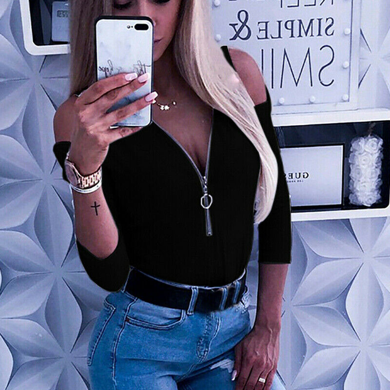 De moda caliente Sexy camiseta de señora de las mujeres hombro Pullover Top Casual de Otoño de manga larga Camiseta Top niñas Outwear KYSZDL gran oferta alta calidad Natural granate pulsera moda mujer cristal joya pulsera para regalos