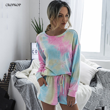 Two Piece Tie Dye Set Womens Outfits Summer Casual Home Matc