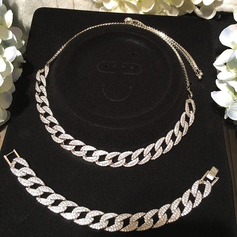 Nouveau Hip hop ensemble collier chaîne micro pave zircon hip hop glacé hommes femmes argent collier bijoux cadeau