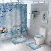 180x180 см Водонепроницаемая занавеска для душа Рождественский белый Лось Снежный пейзаж туалетный коврик нескользящий коврик набор декор для ванной комнаты подарки