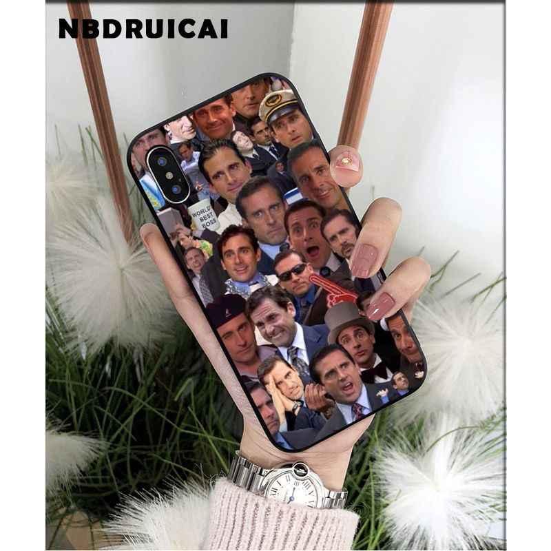 Nbdruicai américa tv o escritório personagens michael silicone caso de telefone para iphone 11 pro xs max 8 7 6 s plus x 5 5S se xr