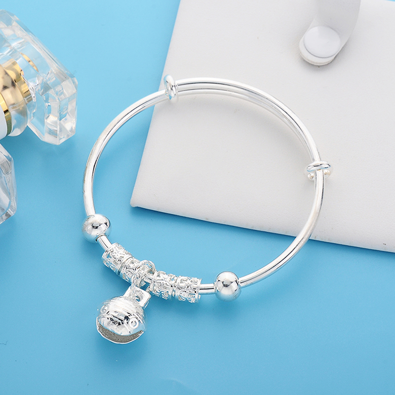 Women Girl Charm Flower Beads Bell Silver Bracelet Bangle Jewelry Gift New