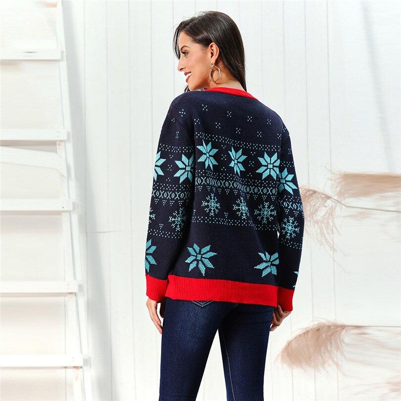 V-Neck Christmas Sweater Long Sleeve Cardigan Women Short Snowflake Print Kimono Cardigan Casual Pull Femme Nouveaute 40OCT215