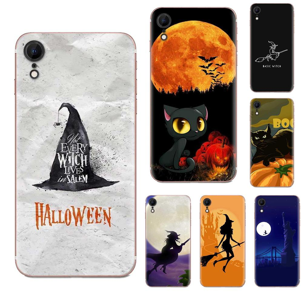 Halloween Witch Pattern Transparent Clear TPU Case For Samsung Galaxy A51 A71 A81 A90 5G A91 A01 S11 S11E S20 Plus Ultra