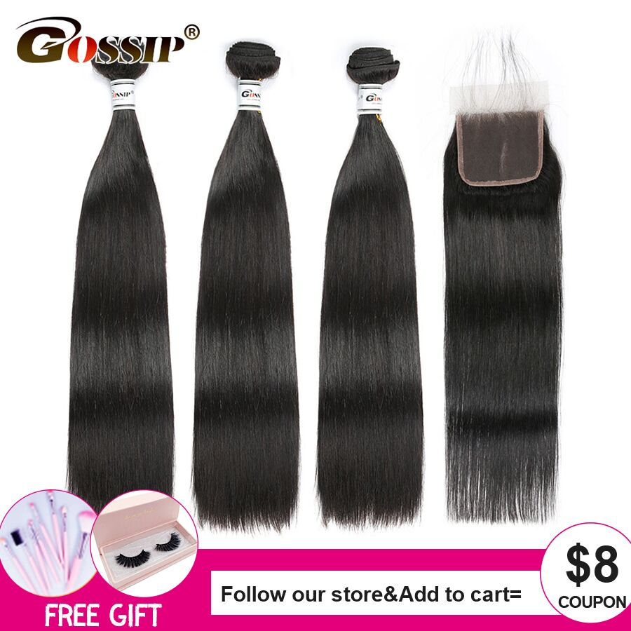 Straight Hair Bundles With Closure Human Hair Non-Remy Lace Closure With Bundles Brazilian Hair Weave Bundles Gossip Swiss Lace