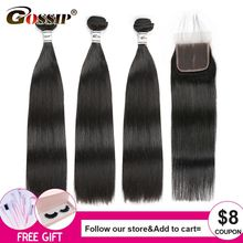 Hair-Bundles Closure Human-Hair Lace Straight Gossip with Remy Swiss