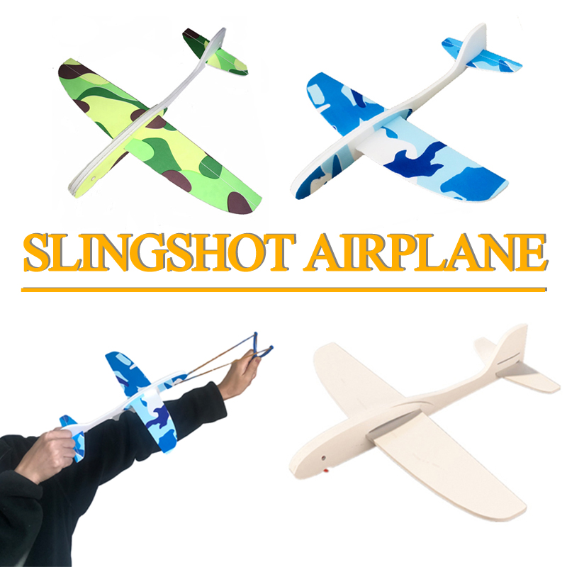 Kids Glow In The Dark Toys Electric EPP Slingshot Foam Hand Throw Airplane Launch Glider Plane Outdoor  Game Toys For Children