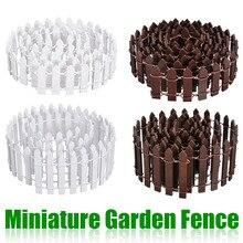 Miniatur Holz Fechten Dekore DIY Fee Garten Micro Puppenhaus Tore Dekor Ornament Weiß/Kaffee Farben 100*5cm/100*3cm