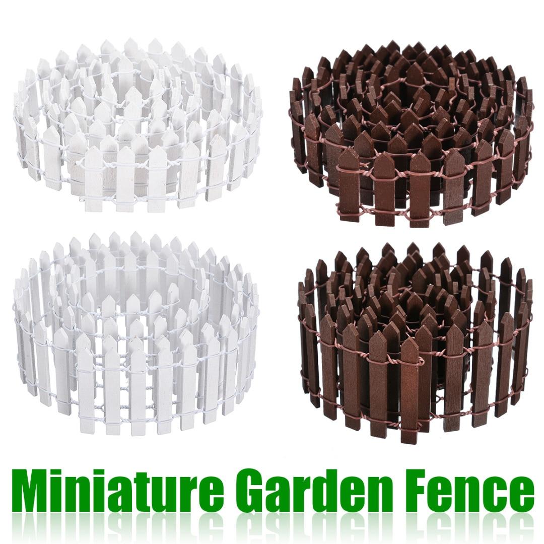 Miniature Wood Fencing DIY Fairy Garden Micro Dollhouse Gates Decor Ornament White/Coffee Colors 100*5cm/100*3cm-in Fencing, Trellis & Gates from Home & Garden