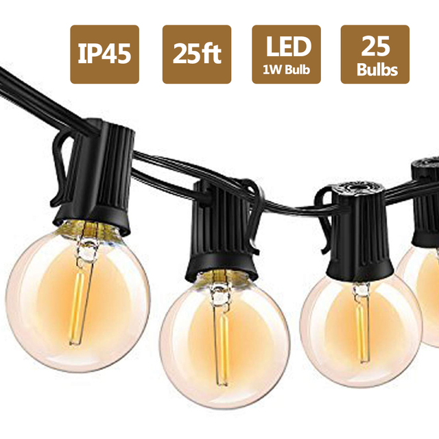 G40 Led String Lights 25Ft 25PCS Vintage LED Bulb 1W 2700K IP45 Waterproof Indoor Outdoor Light String for Backyard Patio Lights