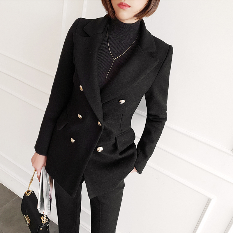 Women Clothes Korean The Self-cultivation Woolen Small Suit Female Autumn and Winter New Fashion Casual Thickening Suit Jacket