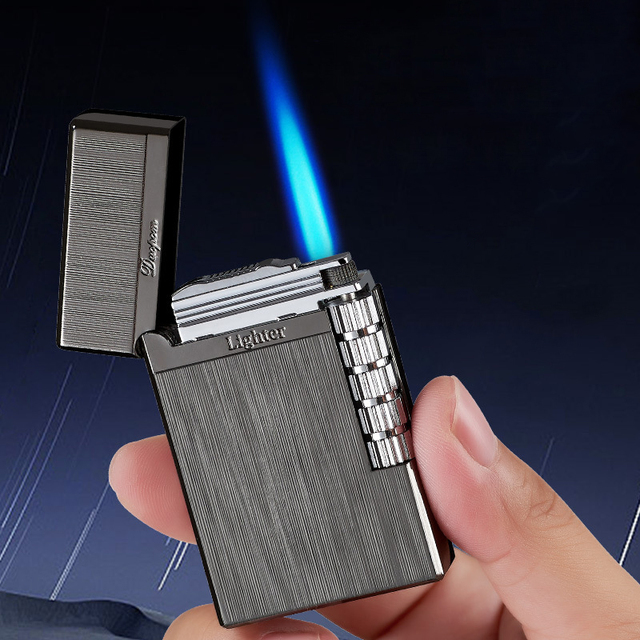 New 2021 Loudly Gas Lighter Square Metal Sideslip Mini Lighters Flint Cigarette Lighters Smoking Accessories Gadgets for Men 4