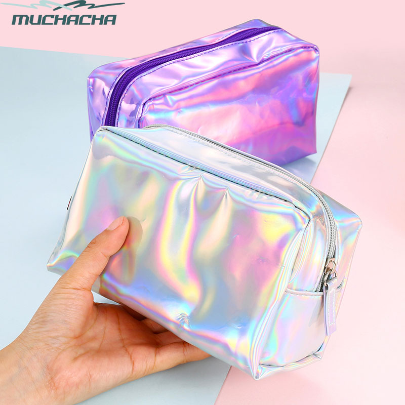 Fashion Laser Shiny PU Leather Holographic Pencil Case Lady Zipper Purse Toiletry Cases Women Cosmetic Bag