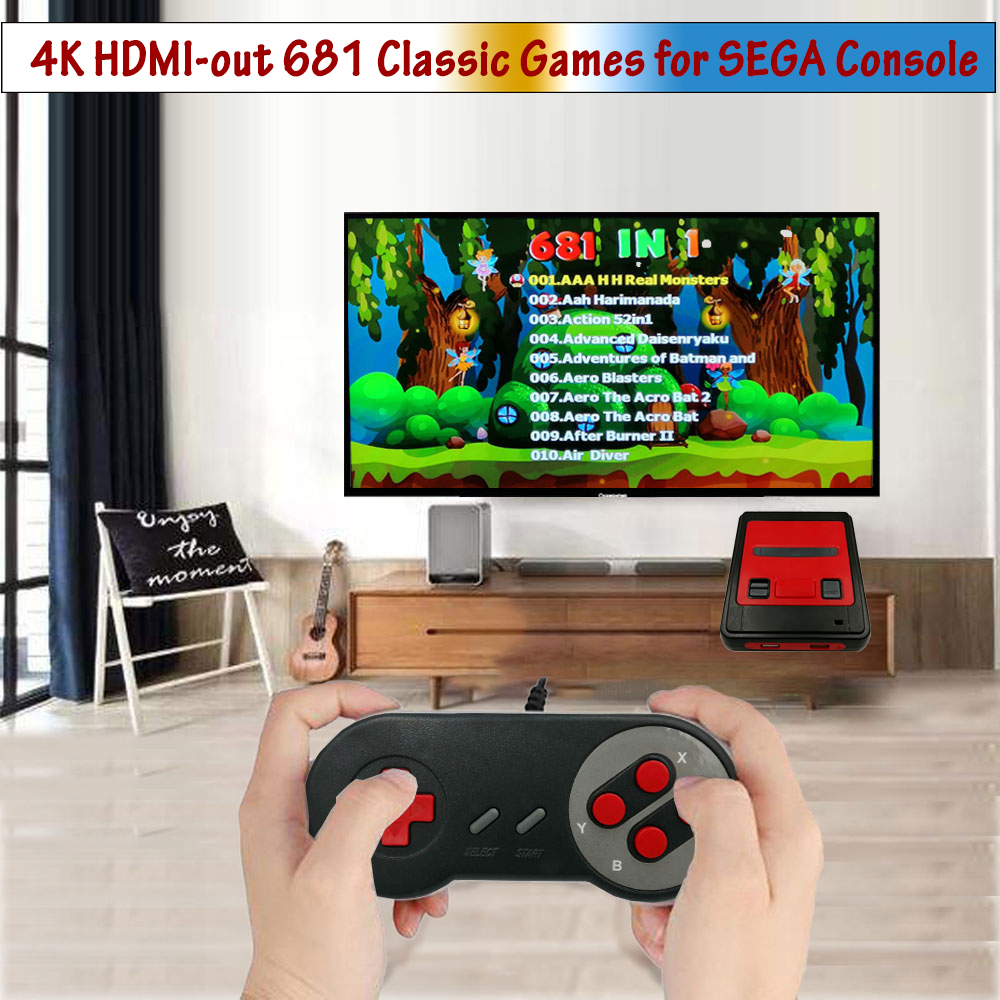 16 Bit HDMI Video Game Console SEGA 681 In 1 Free Game High Definition Double Wired Gamepad Controller Real Hardware Stereo Gift 1
