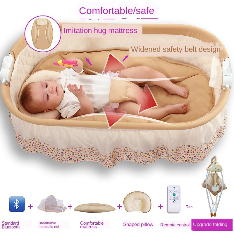 2 in 1 Multi-function Baby Electric Cradle Bed Sleeping Basket Baby Comfort Rocking Chair Smart Bluetooth Swing Bed 0-12 Monthes