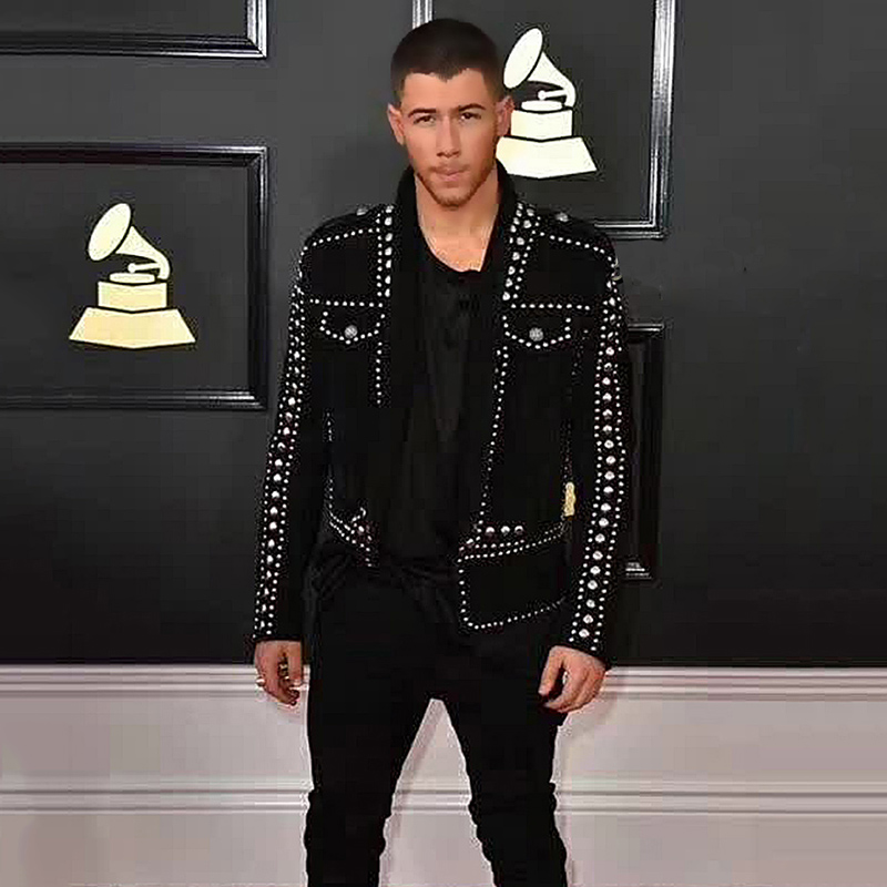 Mens Blazer Jacket Black Suit Coat Deerskin Handmade Silver Nail Bead Party Prom Male Singer Stage Tuxedo