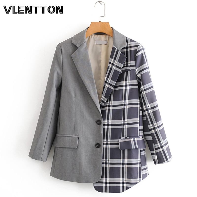 2020 Spring Autumn Vintage Plaid Blazers And Jackets Women  Asymmetry Splice Button Suit Coat Female Outwear Office Blazer Mujer