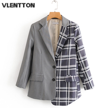 2020 Spring Autumn Vintage Plaid Blazers And Jackets Women  Asymmetry Splice Button Suit Coat Female Outwear Office Blazer Mujer