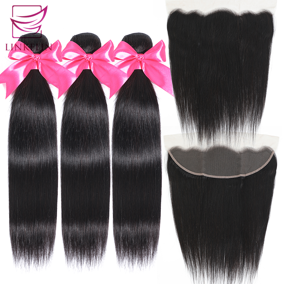 LINKELIN HAIR Straight Human Hair Bundles Mongolian Straight Hair Bundles With Frontal 13*4 Lace Frontal With Bundles