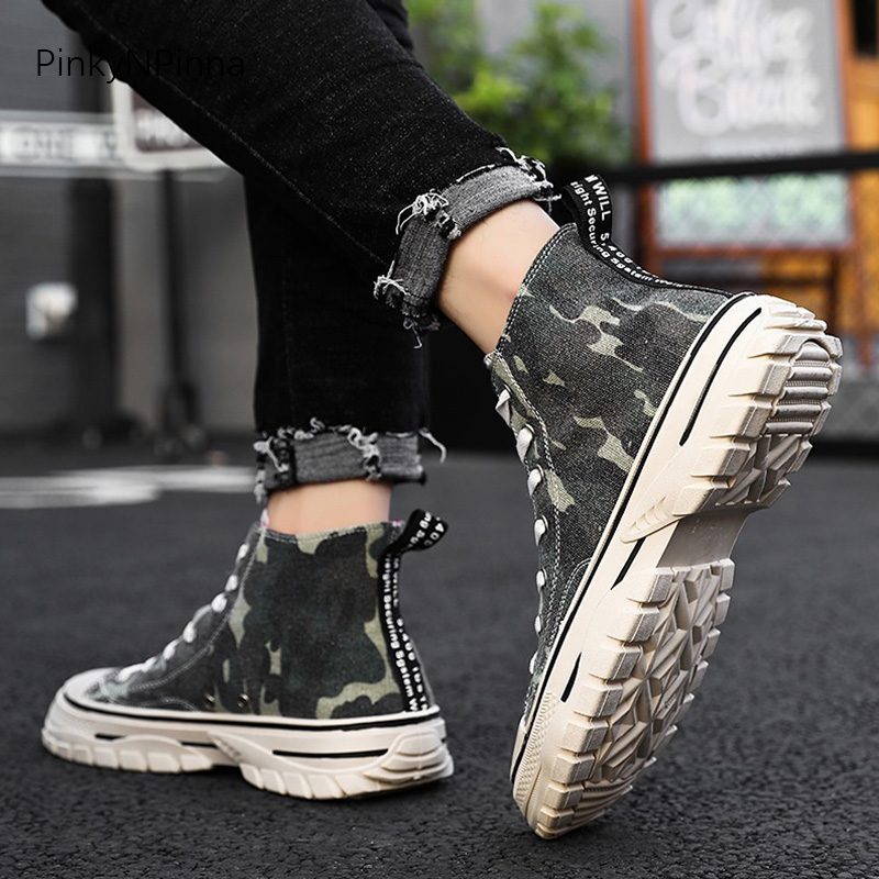 Casual High Top Canvas Shoes Women Fashion Sneakers Gray Wolf Flats School Shoes