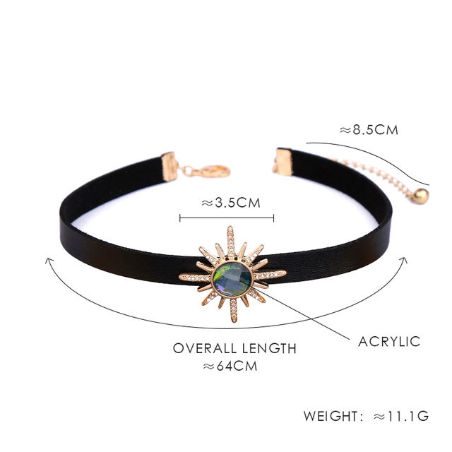 Collar gargantilla de imitación cuero negro Punk flor estrella de cristal