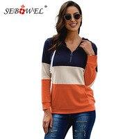 SEBOWEL Retro Sporty Woman's Colorblock Sweatshirts Hoodie Zipped Neck Kangaroo Pockets Female Long Sleeve Hooded Tops S XXL