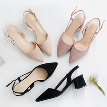 Square High Heels Women Shoes 2020 Flock Ankle Straps Slingbacks Sandals Casual Black Nude Wedding Sexy Pointed Toe Woman Pumps