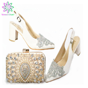 Pointed Toe Shoes and Bag in Silver High Quality Nigerian Women Shoes Matching Bag with Shinning Crystal for Wedding Party