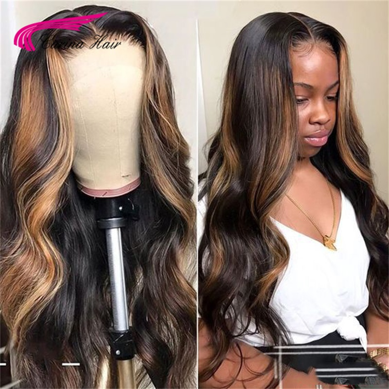 Carina Brazilian Lace Front Human Hair Wigs With Baby Hair Pre Plucked For Women Remy Hair Ombre Colored Wavy Wig