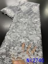 NIAI Tela de encaje de malla Africana 2020 alta calidad elegante nigeriano tejidos de encaje para bodas piedras tul francés Material de encaje de NI2764