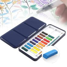 SeamiArt 12/18Color Solid Watercolor Paint Set for Children Drawing Water Color Paper Tin Box Pigment Painting Art Supplies