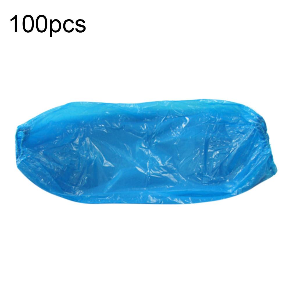 100Pcs Protective Waterproof Disposable Plastic Arm Sleeves Covers Oversleeves длинные перчатки