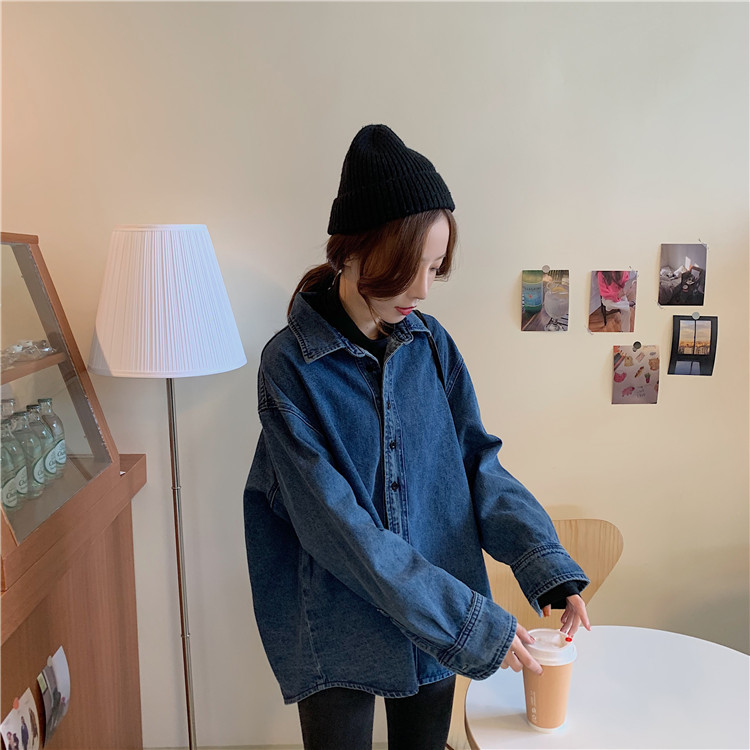 2020 Spring And Autumn New Youth Popular Solid Color Long-sleeved Denim Shirt Fashion Casual Wild Was Thin Coat Jacket Blue
