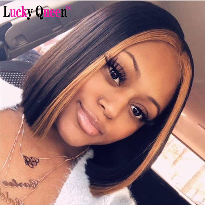 Short Bob Wigs Lace Front Human Hair Wigs Highlight Color 13x4 Human Hair Wigs Brazilian Remy Bob Lace Front Wigs