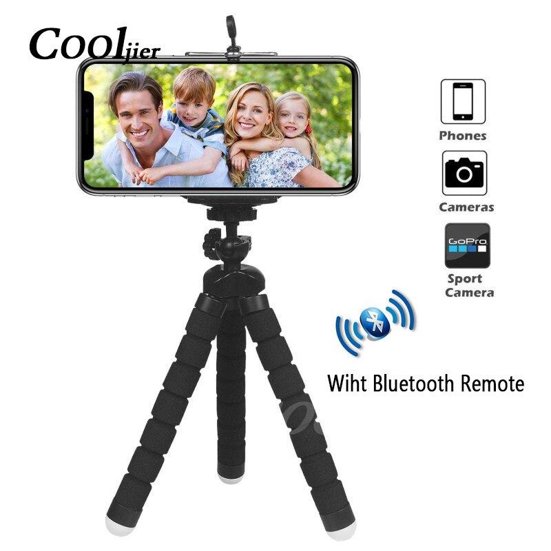 COOLJIER esponja Flexible pulpo Mini trípode con Bluetooth obturador remoto para iPhone mini cámara trípode teléfono titular clip stand