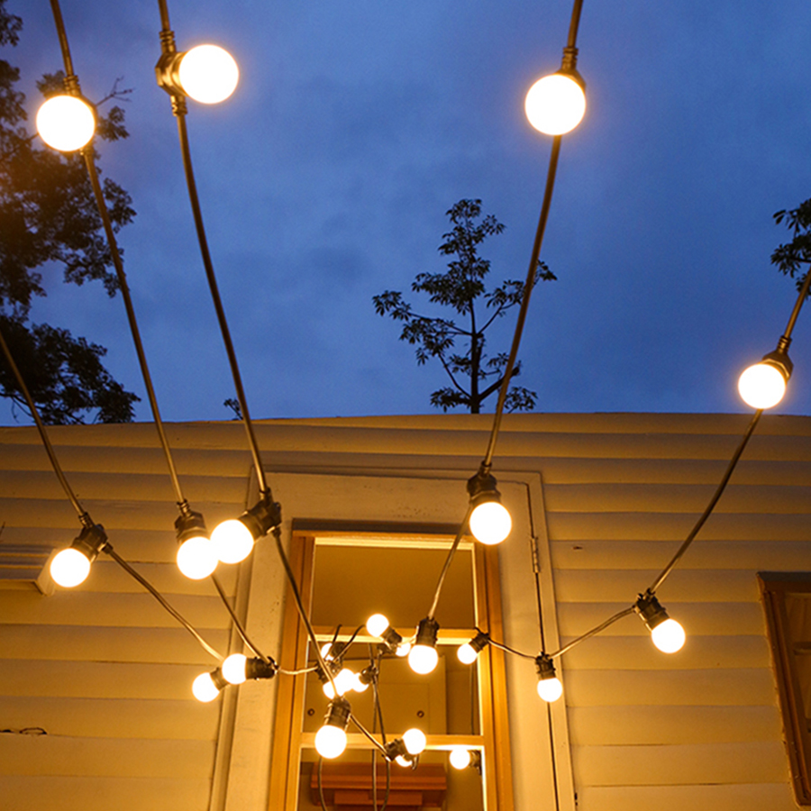 Thrisdar G50 Globe Ball Festoon LED String Light 8M 13M Outdoor Patio Backyard Cafe Gazebo Bistro Globe Fairy Garland Light