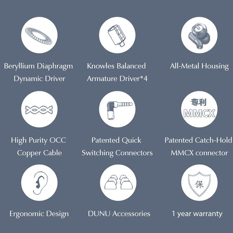 Image 2 - DUNU DK3001 PRO HiFi Audio 5 Hybrid Driver(1DD+ 4 Knowles BA) In ear Earphone MMCX Detachable cable 2.5/3.5/4.4 Balanced connectEarphones   -