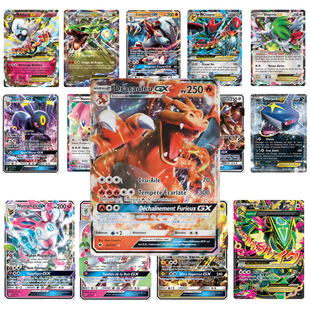 TOMY 100 Pcs French Version Pokemon GX Shining MEGA Cards Game Battle Carte Trading Cards Game Children Toy