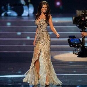 Image 1 - מול פיצול תחרות שמלות מתוקה שמפניה זהב נצנצים חרוזים בת ים שמלה לנשף רכבת בציר תחרה פורמליות ערב שמלות