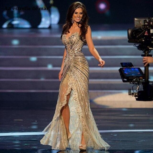 מול פיצול תחרות שמלות מתוקה שמפניה זהב נצנצים חרוזים בת ים שמלה לנשף רכבת בציר תחרה פורמליות ערב שמלות