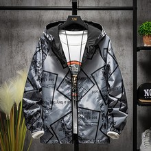 Mens New Autumn Spring Casual Fashion Printed Hoodies Outwear Tops Coat Windbreaker Zipper Army Brand Clothing 9.21