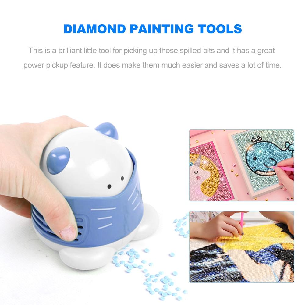 Mini aspirador de pó para pintura de diamante, ferramenta de limpeza doméstica limpa para pintura de bordado em ponto cruz 1