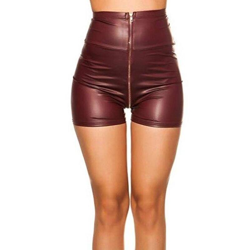 Женские шорты из матовой искусственной кожи, сексуальные летние женские шорты с высокой талией, обтягивающие шорты на молнии