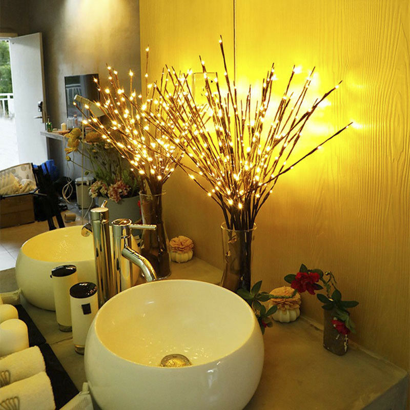 20 Bulbs LED Willow Branch Lamp Battery Powered Natural Vase Filler Willow Twig Lighted Branch For Christmas Home Decoration