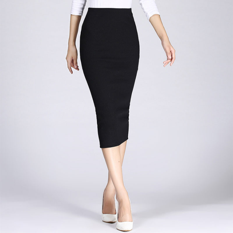 Autumn Winter Women Lady GirPencil Skirt High Waist Cotton Solid Color Stretch Elastic Slim Business OL Split Bodycon Skirts TH3