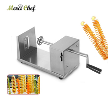 ITOP 2 Blades Stainless Steel Potato Spiral Slicer Manual Potato Tower Machine Potato Chip Cutter Twisted Slicer Vegetable Tools цена и фото