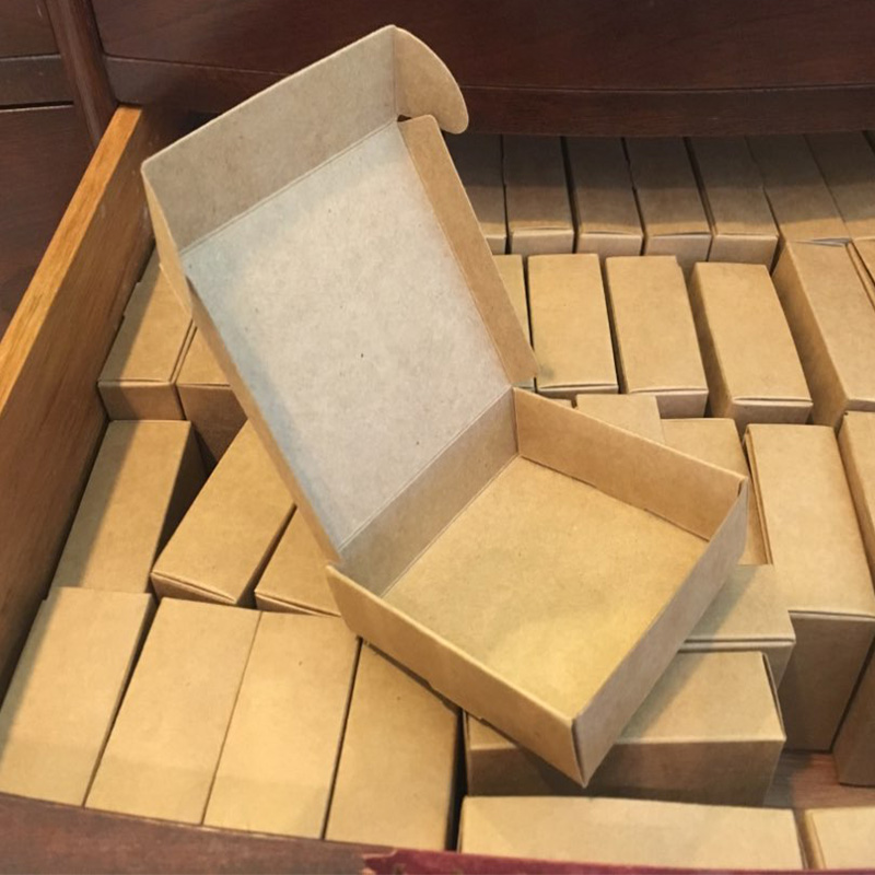 2019 Natural Kraft Paper Gift Packaging Box,small Craft Box Folding Kraft Paper,brown Handmade Soap Paper Cardboard Box