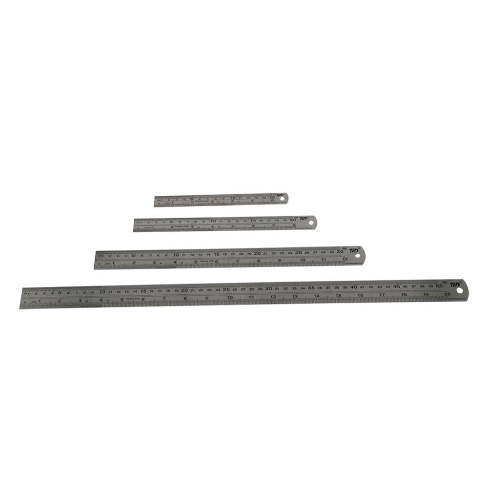 Double Side Stainless Steel Straight Ruler Metric Rule Precision Measuring Tool 15cm/20cm/30cm/50cm Centimeter Inches Scale